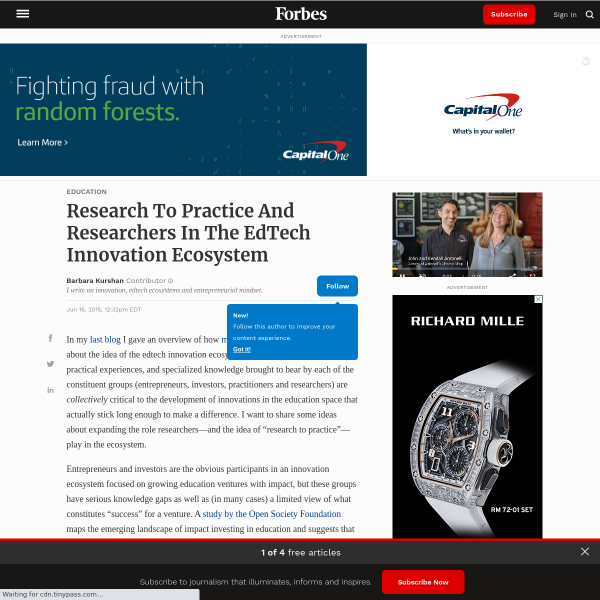 Research To Practice And Researchers In The EdTech Innovation Ecosystem