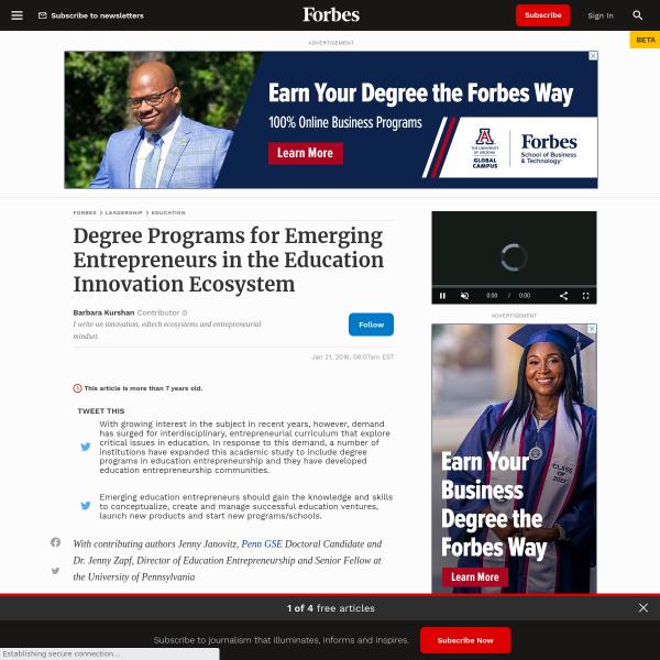 Degree Programs for Emerging Entrepreneurs in the Education Innovation Ecosystem