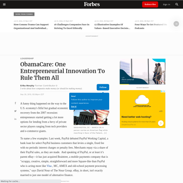 ObamaCare: One Entrepreneurial Innovation To Rule Them All