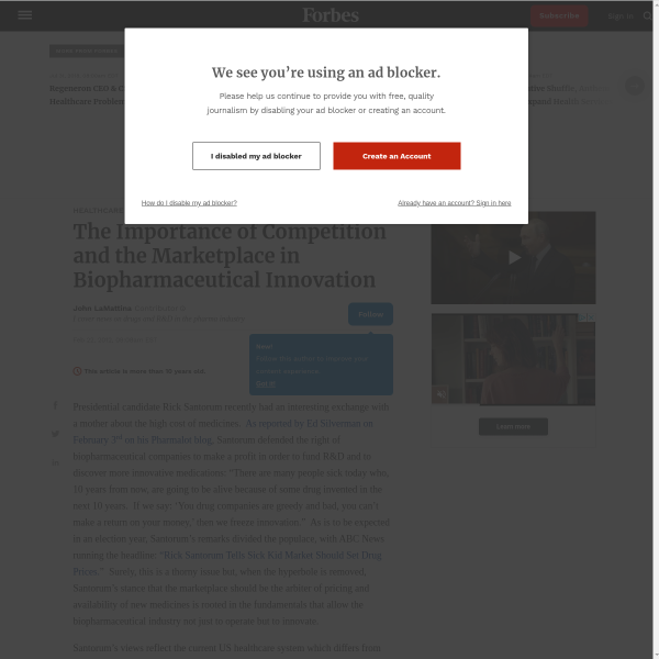 The Importance of Competition and the Marketplace in Biopharmaceutical Innovation