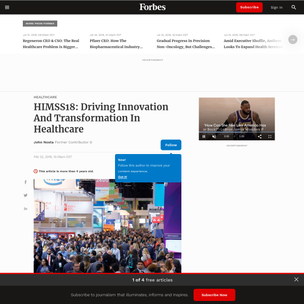 HIMSS18: Driving Innovation And Transformation In Healthcare