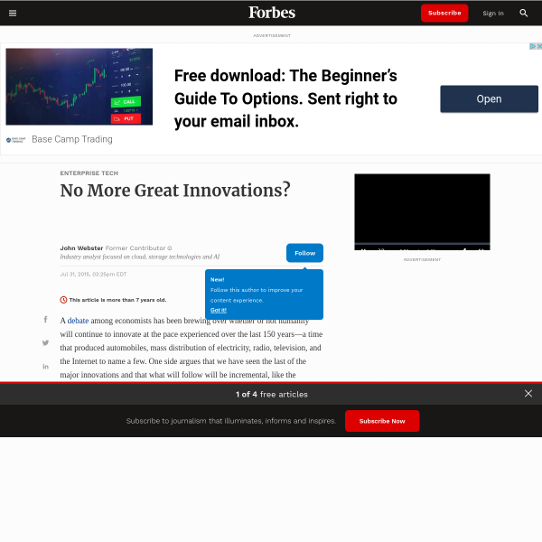 No More Great Innovations?