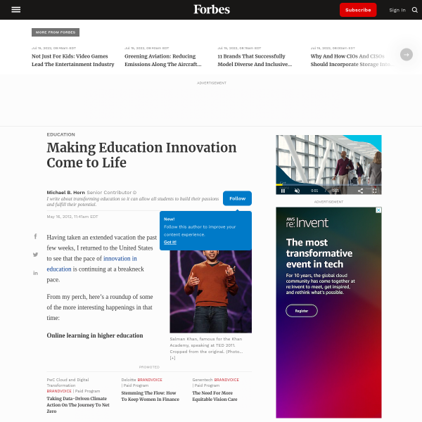 Making Education Innovation Come to Life