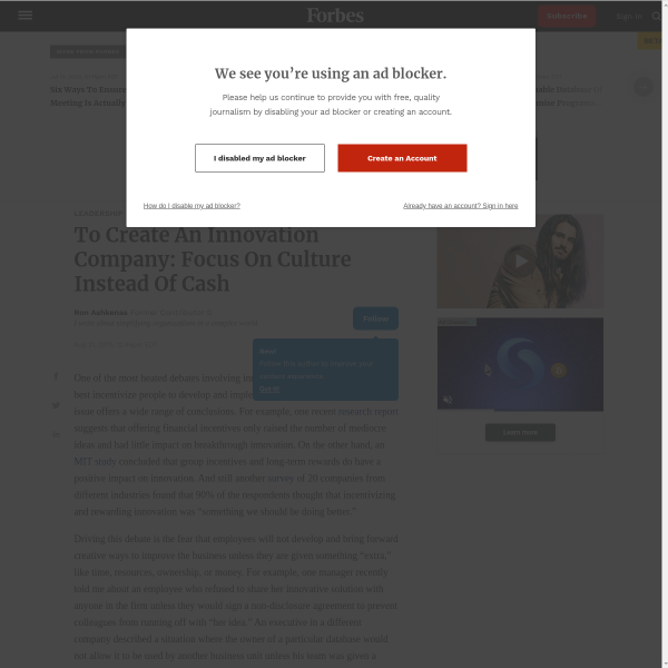 To Create An Innovation Company: Focus On Culture Instead Of Cash