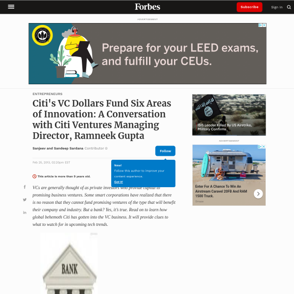 Citi's VC Dollars Fund Six Areas of Innovation: A Conversation with Citi Ventures Managing Director, Ramneek Gupta