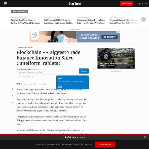 Blockchain -- Biggest Trade Finance Innovation Since Cuneiform Tablets?