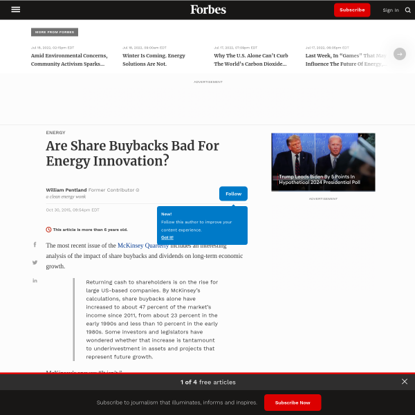 Are Share Buybacks Bad For Energy Innovation?
