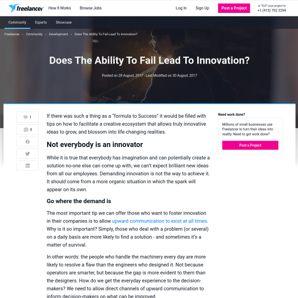 Does The Ability To Fail Lead To Innovation? - Freelancer Blog