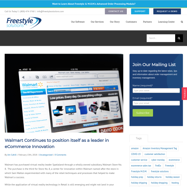 Walmart Continues to position itself as a leader in eCommerce Innovation - Freestyle Solutions