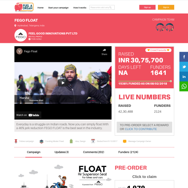 FEGO FLOAT by FEEL GOOD INNOVATIONS PVT LTD - Crowdfunding India
