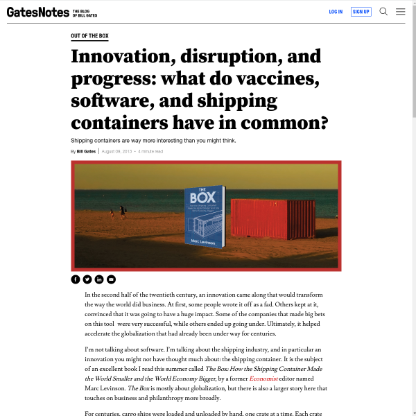 Innovation, Disruption, and Progress: What Do Vaccines, Software, and Shipping Containers Have in Common?