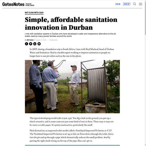 Learn about my 2009 visit to South Africa to learn about sanitation innovation.