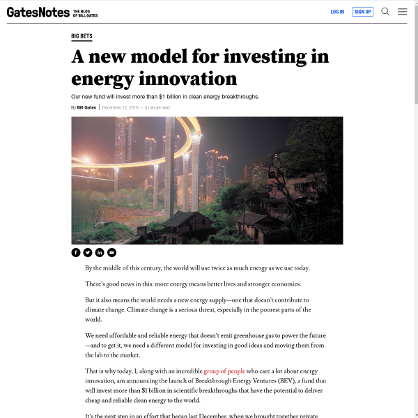 A New Model for Investing in Energy Innovation