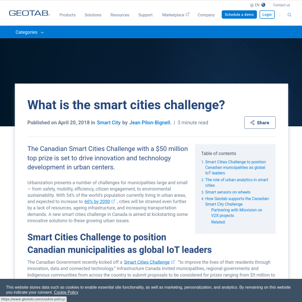 Canadian Smart Cities Challenge: Kickstarting Innovation with IoT and Urban Analytics - Geotab Blog