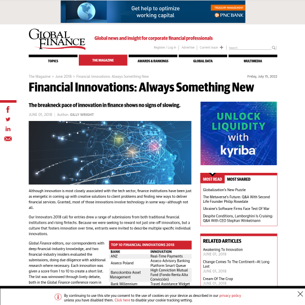 Global Finance Magazine - Financial Innovations: Always Something New
