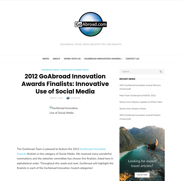 2012 GoAbroad Innovation Awards Finalists: Innovative Use of Social Media