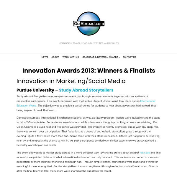 Innovation Awards 2013: Winners & Finalists - GoAbroad Corporate Blog