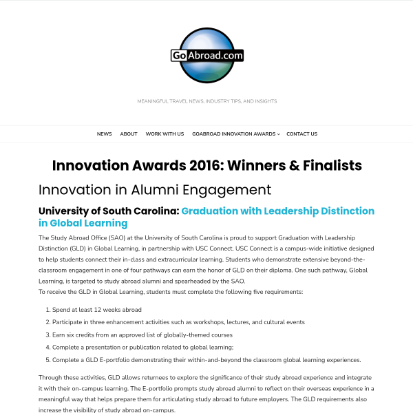 Innovation Awards 2016: Winners & Finalists - GoAbroad Corporate Blog