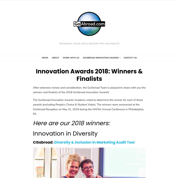 Innovation Awards 2018: Winners & Finalists - GoAbroad Corporate Blog