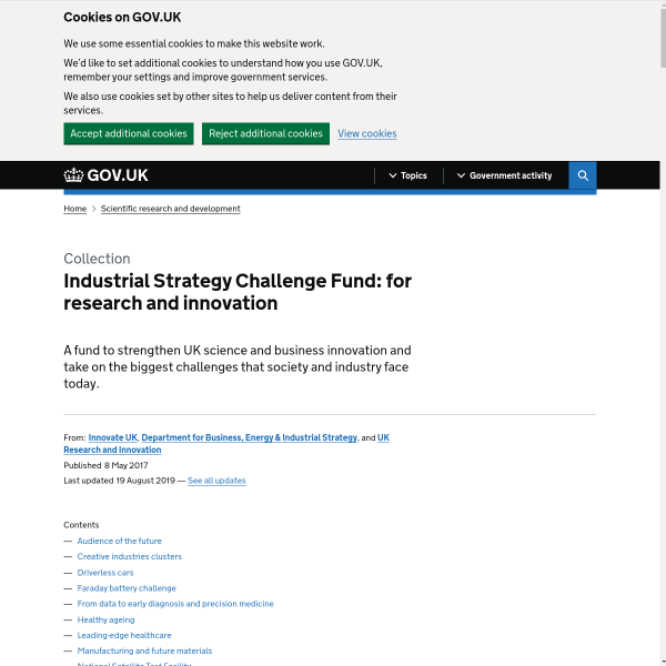 Industrial Strategy Challenge Fund: for research and innovation