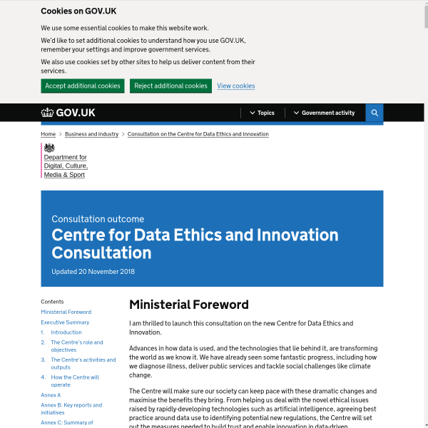 Centre for Data Ethics and Innovation Consultation