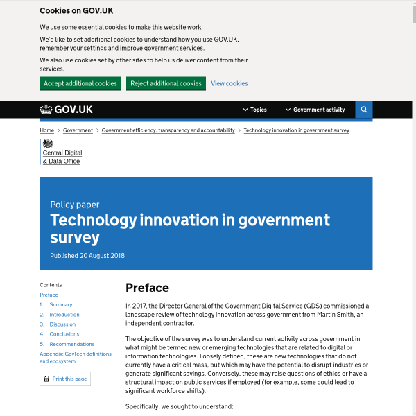 Technology innovation in government survey