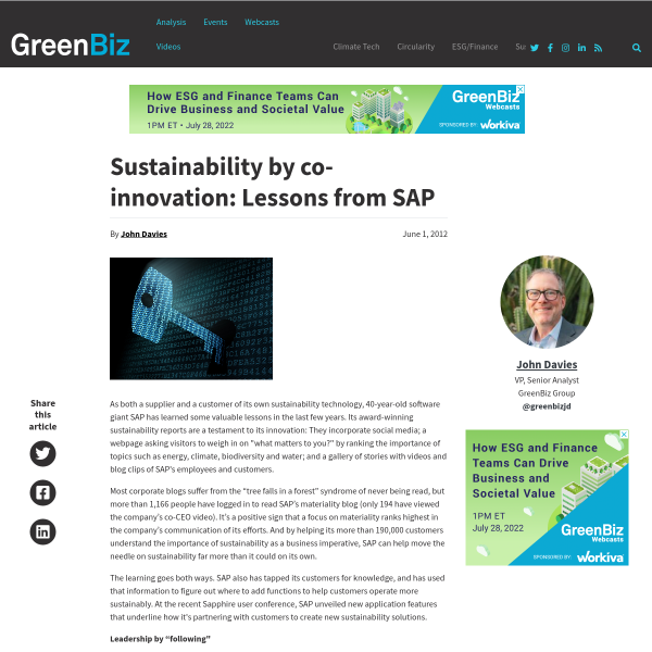 Sustainability by co-innovation: Lessons from SAP