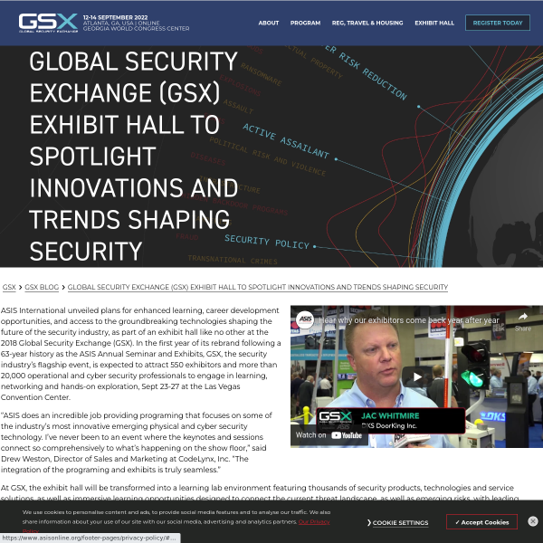 Global Security Exchange (GSX) Exhibit Hall to Spotlight Innovations and Trends Shaping Security - GSX