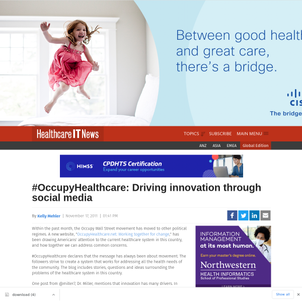 #OccupyHealthcare: Driving innovation through social media