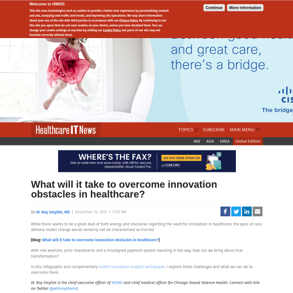 What will it take to overcome innovation obstacles in healthcare?