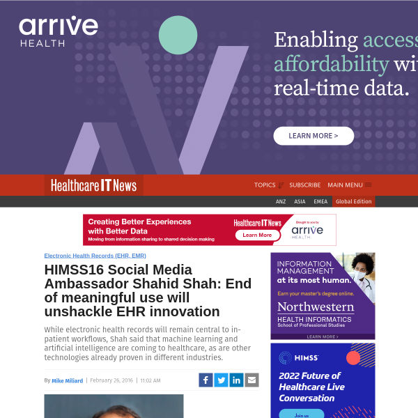 HIMSS16 Social Media Ambassador Shahid Shah: End of meaningful use will unshackle EHR innovation