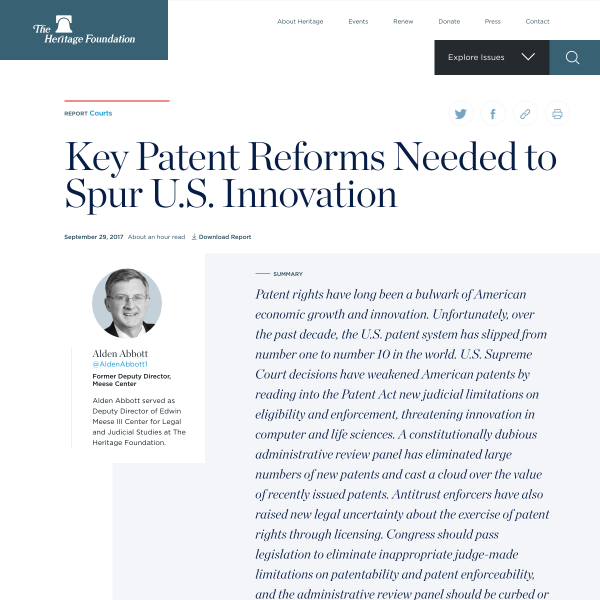 Key Patent Reforms Needed to Spur U.S. Innovation