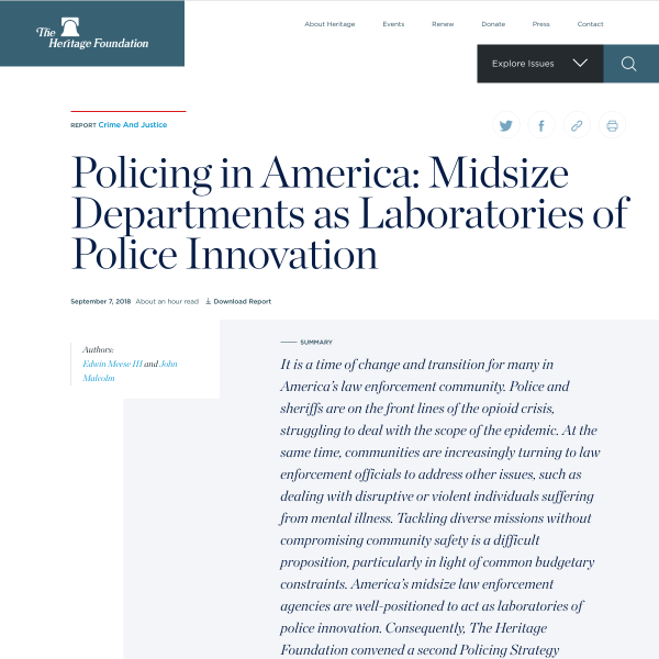 Policing in America: Midsize Departments as Laboratories of Police Innovation