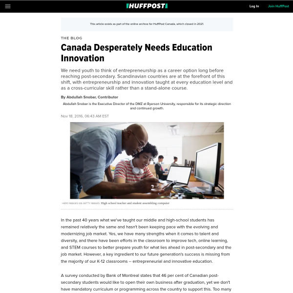 Canada Desperately Needs Education Innovation