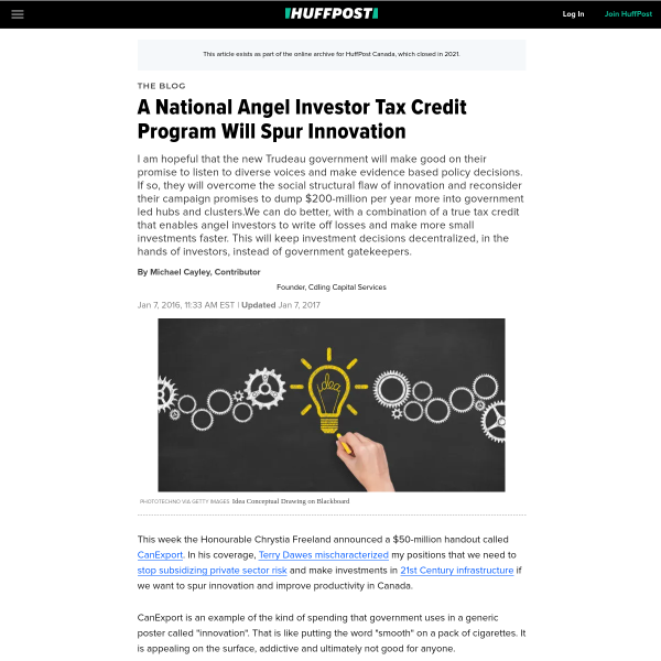A National Angel Investor Tax Credit Program Will Spur Innovation