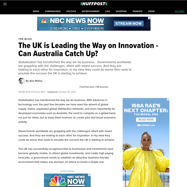 The UK is Leading the Way on Innovation - Can Australia Catch Up?