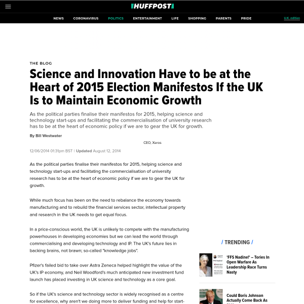 Science and Innovation Have to be at the Heart of 2015 Election Manifestos If the UK Is to Maintain Economic Growth