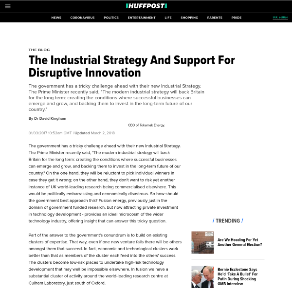 The Industrial Strategy And Support For Disruptive Innovation