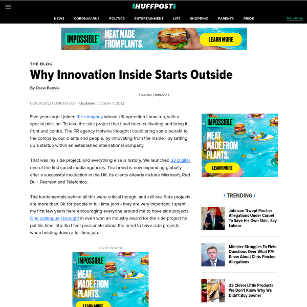 Why Innovation Inside Starts Outside