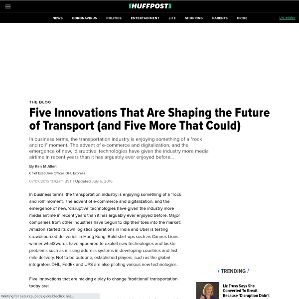 Five Innovations That Are Shaping the Future of Transport (and Five More That Could)