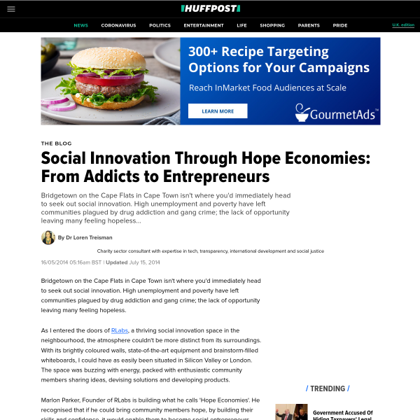 Social Innovation Through Hope Economies: From Addicts to Entrepreneurs