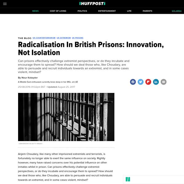 Radicalisation In British Prisons: Innovation, Not Isolation