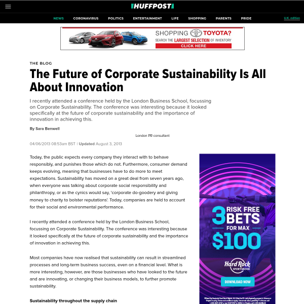 The Future of Corporate Sustainability Is All About Innovation
