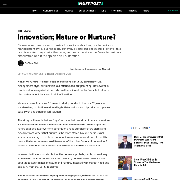 Innovation; Nature or Nurture?