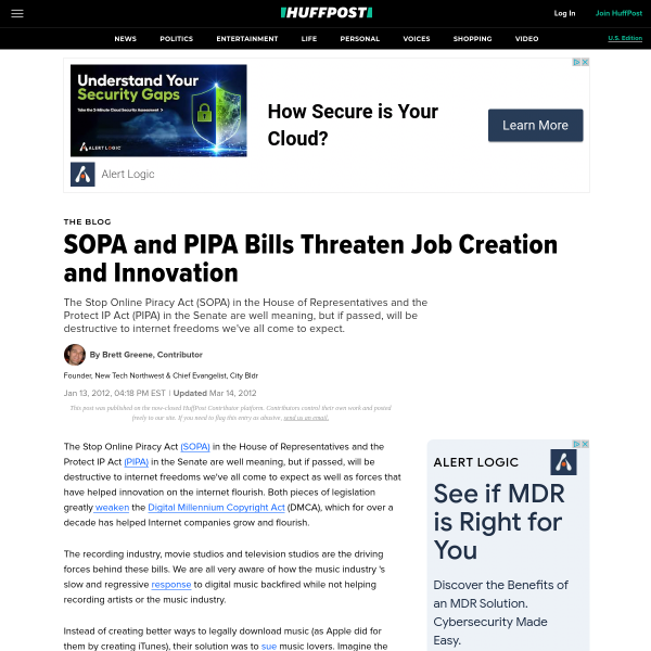 SOPA and PIPA Bills Threaten Job Creation and Innovation