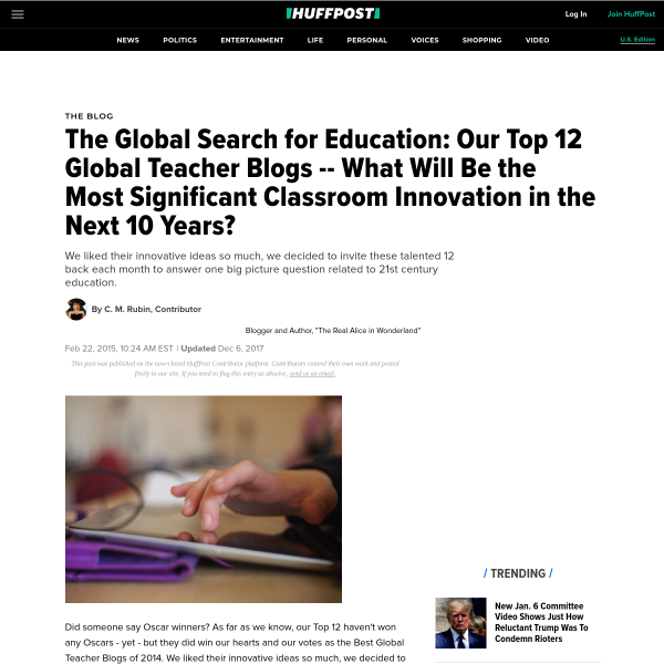 The Global Search for Education: Our Top 12 Global Teacher Blogs -- What Will Be the Most Significant Classroom Innovation in the Next 10 Years?