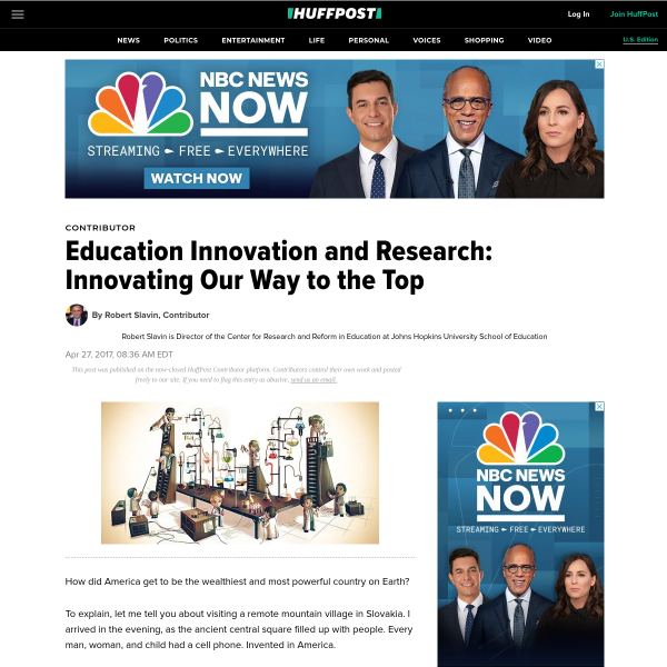 Education Innovation and Research: Innovating Our Way to the Top