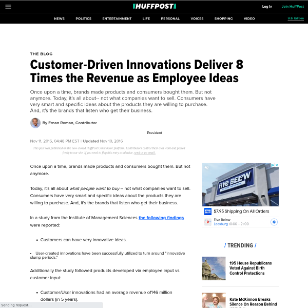 Customer-Driven Innovations Deliver 8 Times the Revenue as Employee Ideas