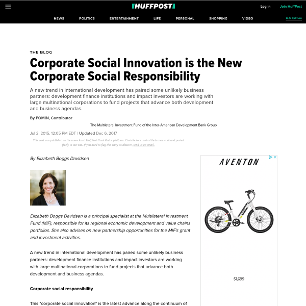 Corporate Social Innovation is the New Corporate Social Responsibility