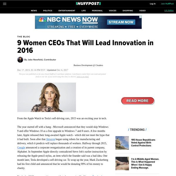 9 Women CEOs That Will Lead Innovation in 2016
